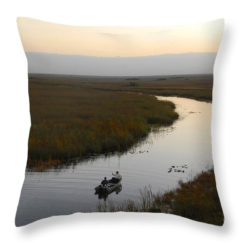 Fishing Throw Pillow featuring the photograph Dawn Everglades Florida by David Lee Thompson