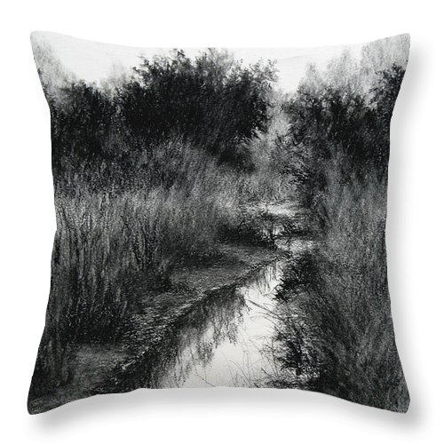 Charcoal Throw Pillow featuring the drawing Dawn Marsh by Keith Burgess