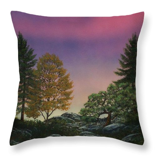 Mountains Throw Pillow featuring the painting Dawn Of Day by Frank Wilson