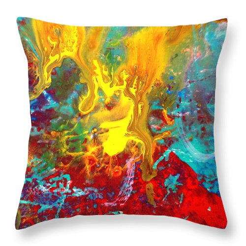 Abstract Throw Pillow featuring the painting Dawn Of The Universe by Natalie Holland