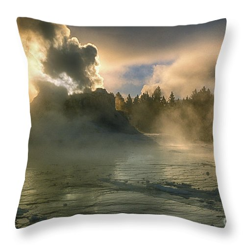 Yellowstone Throw Pillow featuring the photograph Dawn On Castle Geyser by Sandra Bronstein