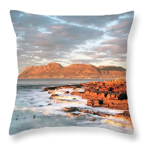 Dawn Throw Pillow featuring the photograph Dawn Over Simons Town South Africa by Neil Overy