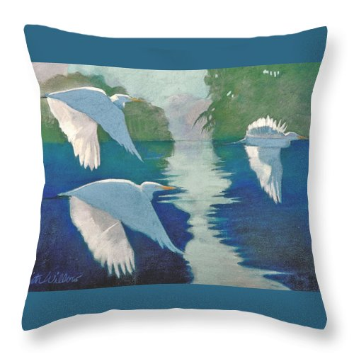 Birds Throw Pillow featuring the painting Dawn Patrol by Neal Smith-Willow