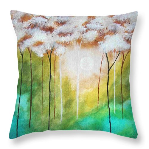 Abstract Throw Pillow featuring the painting Dawns Early Light by Itaya Lightbourne