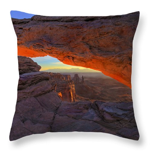 Mesa Arch Throw Pillow featuring the photograph Dawns Early Light by Mike Dawson