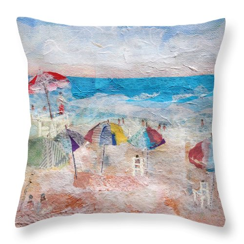Beach Throw Pillow featuring the mixed media Day At The Beach by Arline Wagner