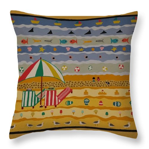 Beach Throw Pillow featuring the painting Day At The Beach by Janine Bartram