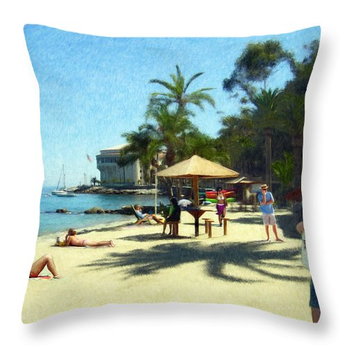 Beach Throw Pillow featuring the digital art Day At The Beach by Snake Jagger