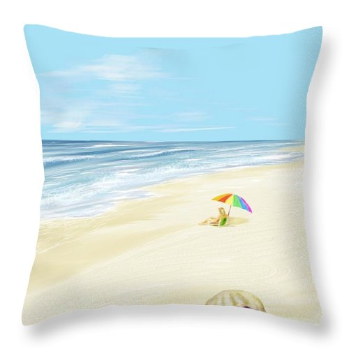 Beach Summer Sun Sand Waves Shells Throw Pillow featuring the digital art Day At The Beach by Veronica Jackson
