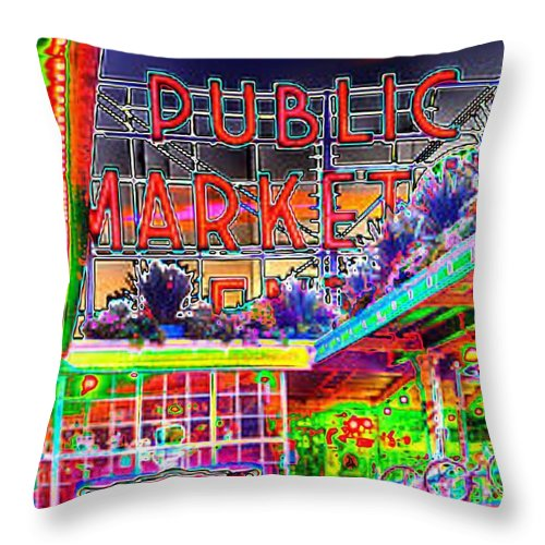 Seattle Throw Pillow featuring the photograph Day At The Market by Tim Allen