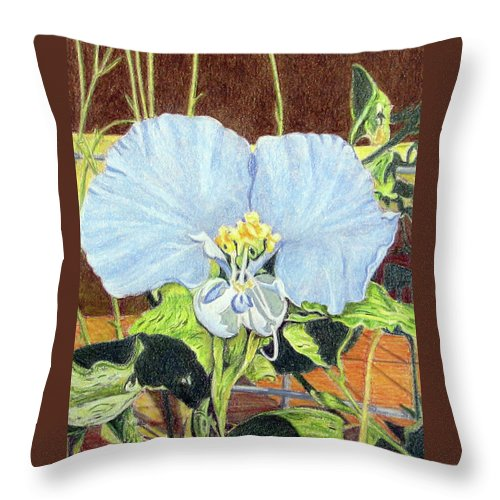 Fuqua - Artwork Throw Pillow featuring the drawing Day Flower by Beverly Fuqua