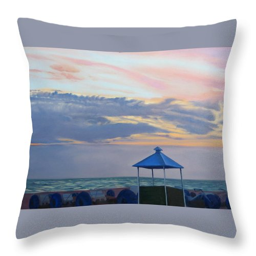 Sunset Throw Pillow featuring the painting Day Is Done by Lea Novak