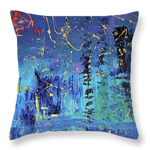 Blue Throw Pillow featuring the painting Day Light Saving Time by Pam Roth O'Mara