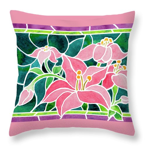 Pink Day Lilies Throw Pillow featuring the painting Day Lilies In Stained Glass by Janis Grau