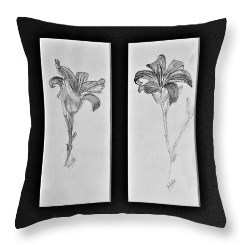 Pencil Sketches Throw Pillow featuring the drawing Day Lilies by Peggy King