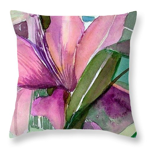 Flower Throw Pillow featuring the painting Day Lily Pink by Mindy Newman