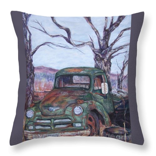 Vintage Truck Throw Pillow featuring the pastel Day Of Rest - Old Friend Iv by Alicia Drakiotes