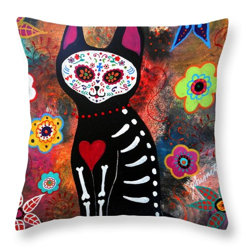 Day Of The Dead Throw Pillow featuring the painting Day Of The Dead Cat El Gato by Pristine Cartera Turkus