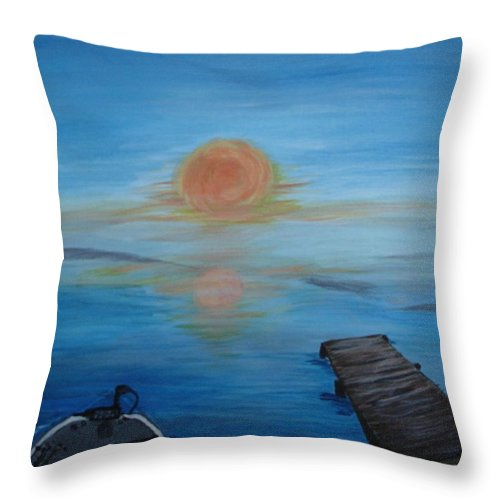 Sunrise Throw Pillow featuring the painting Day Out Fishing by Susan Voidets