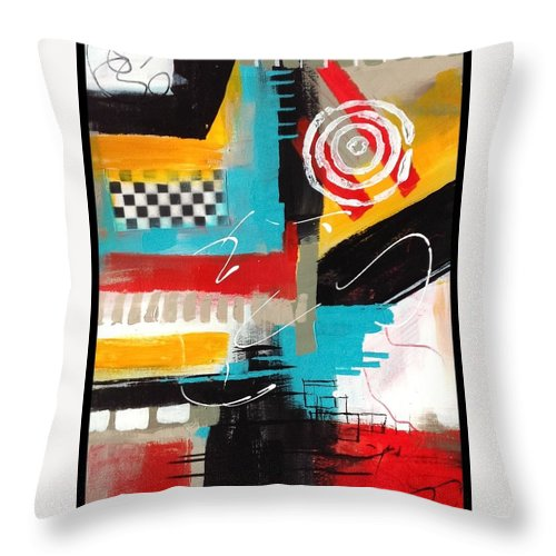 Abstract Throw Pillow featuring the painting Day Six...30 In 30 Challenge by Suzzanna Frank