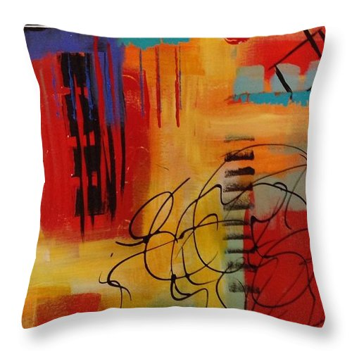 Abstractpaintings Throw Pillow featuring the painting Day Two...30 in 30 Challenge by Suzzanna Frank