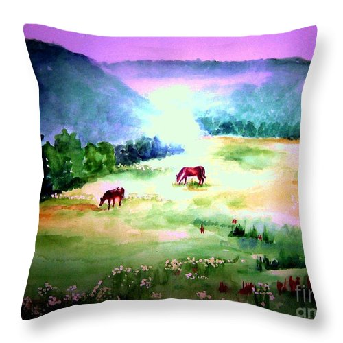 Early Morning Throw Pillow featuring the painting Daybreak And Clover by Sandy Ryan