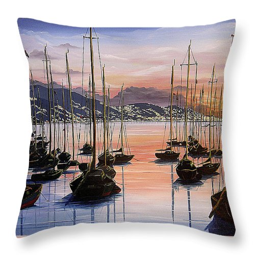 Seascape Painting Yacht Painting Harbour Painting Port Of Spain Trinidad And Tobago Painting Caribbean Painting Tropical Seascape Yachts  Painting Boats Dawn Breaking Greeting Card Painting Throw Pillow featuring the painting Daybreak by Karin Dawn Kelshall- Best