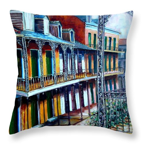 New Orleans Throw Pillow featuring the painting Daybreak On St. Ann Street by Diane Millsap