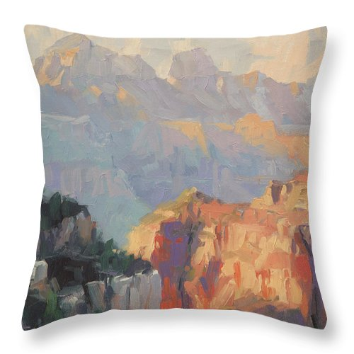 Grand Canyon Throw Pillow featuring the painting Daybreak by Steve Henderson
