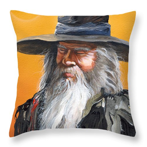 Fantasy Art Throw Pillow featuring the painting Daydream Wizard by J W Baker