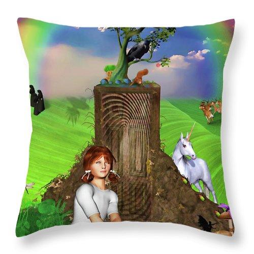 Magic Throw Pillow featuring the digital art Daydreams In Magicland by John Haldane