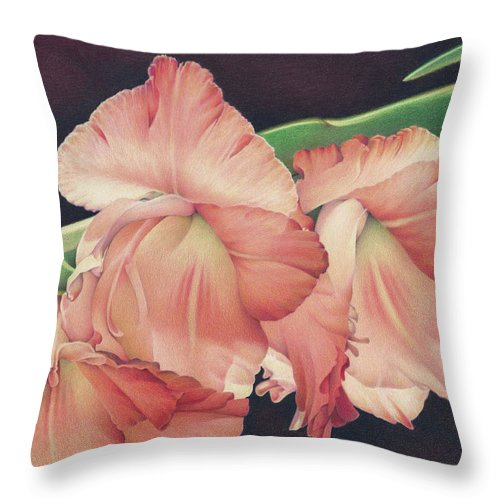 Gladiolas Throw Pillow featuring the drawing Daylights Last Dance by Amy S Turner