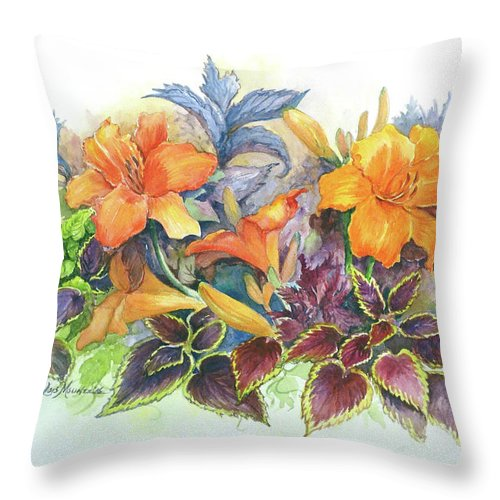 Day Lilies Throw Pillow featuring the painting Daylilies and Coleus by Lois Mountz