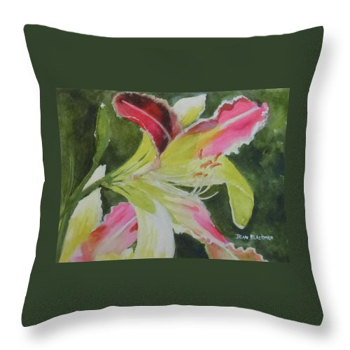 Daylily Throw Pillow featuring the painting Daylily Study 1 by Jean Blackmer
