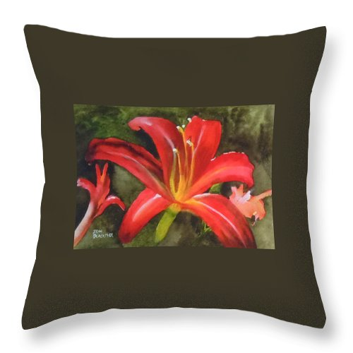 Red Throw Pillow featuring the painting Daylily Study IV by Jean Blackmer