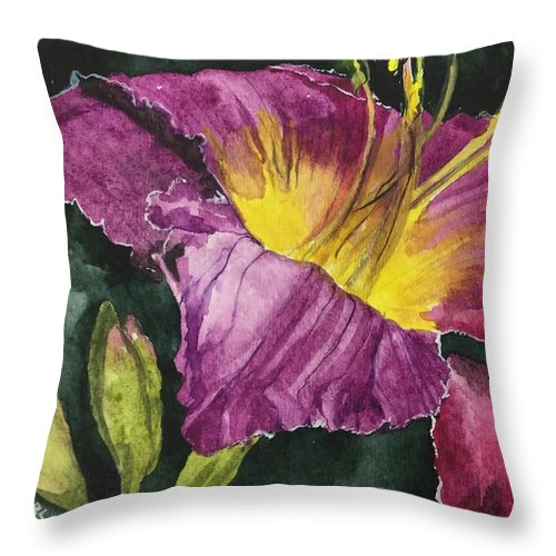 Daylily Throw Pillow featuring the painting Daylily Study VI by Jean Blackmer