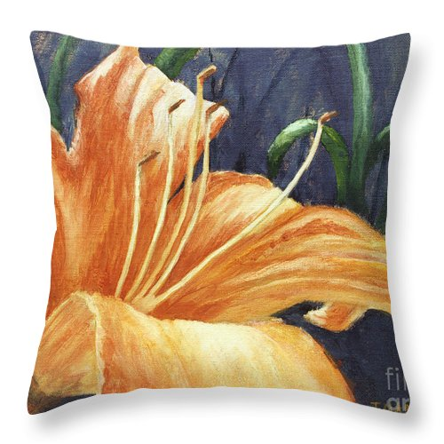 Flower Throw Pillow featuring the painting Daylily by Todd Blanchard