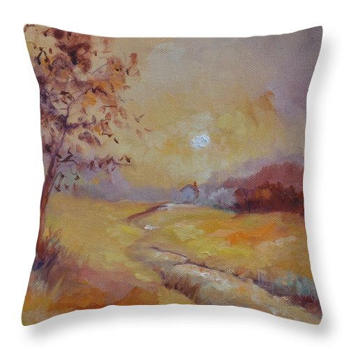 Evening Landscape Throw Pillow featuring the painting Day's End by Ginger Concepcion