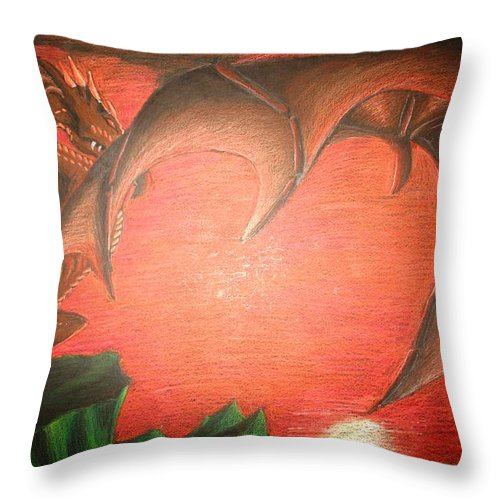 Dragon Throw Pillow featuring the drawing Days End by Melissa Wiater Chaney