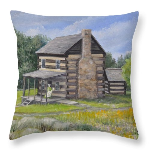Log Cabin Throw Pillow featuring the painting Days Past by Penny Neimiller