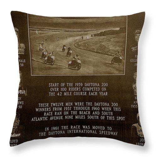 Dayton 200 Bike Race Throw Pillow featuring the photograph Daytona 200 Plaque by David Lee Thompson