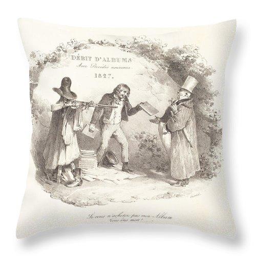 Throw Pillow featuring the drawing D?bit D'albums Avec Proc?d?s Nouveaux (new Methods For The Sale Of Lithograph Albums) by Nicolas-toussaint Charlet
