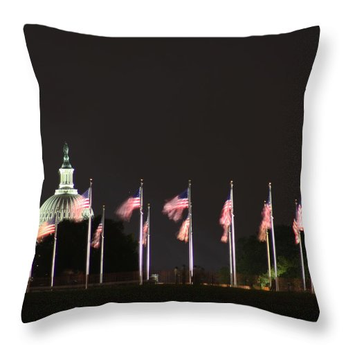 Washington Dc Throw Pillow featuring the photograph Dc At Night by Nancy Ingersoll