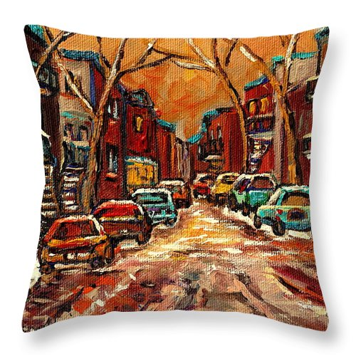 Montreal Throw Pillow featuring the painting De Bullion Street Montreal by Carole Spandau