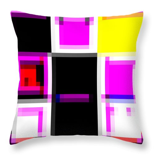 Square Throw Pillow featuring the digital art De Stijl Winkel, Elleboogstraat, Oranjestad, Aruba by Eikoni Images