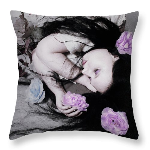 Flower Throw Pillow featuring the photograph Dead Roses by Cambion Art