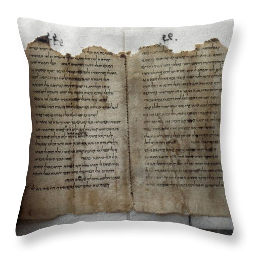 1st Century B.c. Throw Pillow featuring the photograph Dead Sea Scroll by Granger