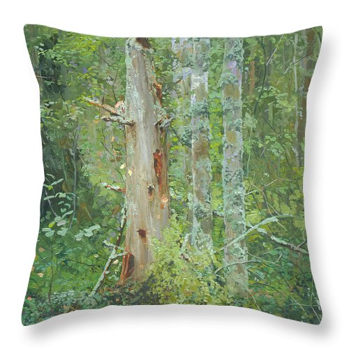 Old Tree Throw Pillow featuring the painting Dead Tree by Simon Kozhin