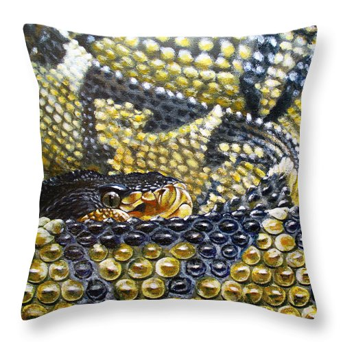 Snake Throw Pillow featuring the painting Deadly Details by Cara Bevan