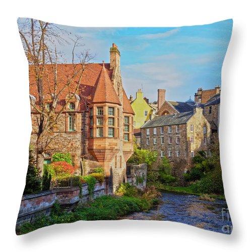 Europe Throw Pillow featuring the photograph Dean Village, Edinburgh, Scotland by Karol Kozlowski